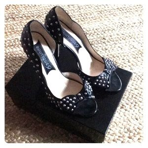 Boutique 9 Black Leather spiked heels